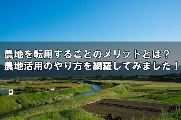 農地を転用することのメリットとは?農地活用のやり方を網羅してみました!